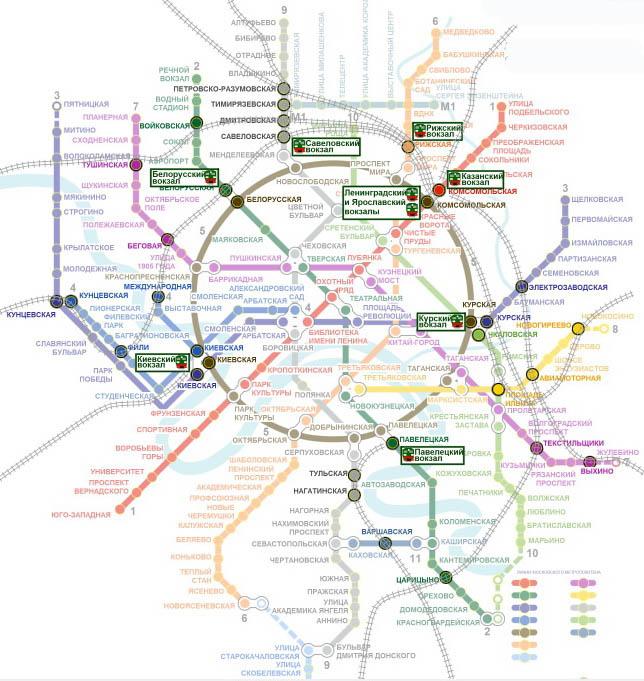 Схема линий скоростного транспорта Москвы - выходы к вокзалам.